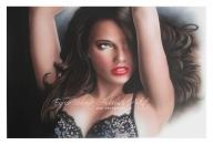 ritratto modella, 40x60 cm. colori acrilici su cartoncino - Airbrush Artwoks