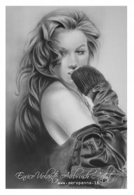 ritratto monocromatico su cartoncino - Airbrush Artwoks