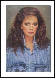 Jackie Collins portrait. Gouache on illustration board. - Airbrush Artwoks