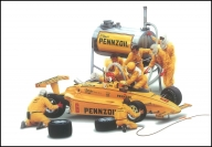 A commission I once had for a Pennzoil Advertisement, a pit crew hard at work...Gouache on illustration board.  - Airbrush Artwoks