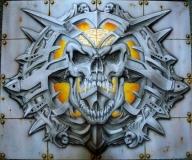 Skull with metal frame by airbrush77 - Kustom Airbrush