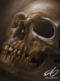"""""""Skull"""" Airbrush painting.  Acrylics on illustration board. Originalsize: 50x70 cm (approx. 20x27,5 inches.) © 2013 Roger Thomasson - My favorite on Justairbrush"""