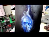 Howto Airbrush Skull Gangster and Blue Flames with Waterbased Paints | Airbrush Step by Step | SK-Brush - Airbrush Videos
