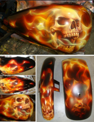 Tank - Flames and Skulls - Kustom Airbrush
