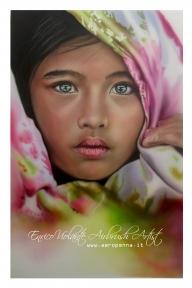oriental child, airbrush on paper - Airbrush Artwoks