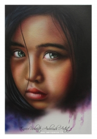 volto di bimba, airbrush on canvas - Airbrush Artwoks