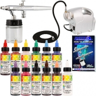 $72.46 Dual-Action #Airbrush #CAKE DECORATING AIRBRUSHING #KIT with #Set of 12 Food Colors - Airbrush on Foods