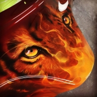 Tiger & Real Flames - Airbrush Artwoks