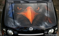Eagle and flag on Xterra hood - Kustom Airbrush