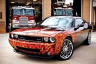 Badass Dodge Challenger & real flames - Aerografia su Gomme