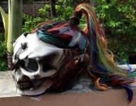Cool! #Skull DOT Helmet Ponytail Rainbow Hair Custom Helmet Goro Style Airbrush – Custom Airbrush Helmet - Airbrush Artwoks