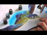 Airbrush Tutorial: Turtle Sealife Stencil Harder & Steenbeck - Airbrush Video Tutorials