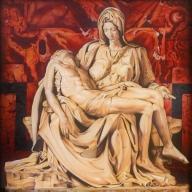 Michelangelo's Pieta by Troy Pierce Airbrush oils on canvas 48''x48'' - Airbrush Artwoks