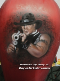 Outlaw airbrush on custom Harley - Kustom Airbrush