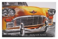 "yellow cab, airbrush ink on ""carta liquida"" by Tecka Design - Airbrush Artwoks"