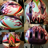 I hand-painted this cycling helmet 4 years ago, using acrylics  - Hand painted cycling helmets