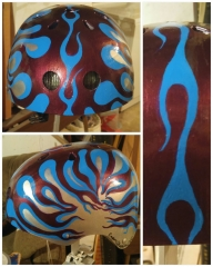 This helmet was a combination of airbrush and acrylic paints - Hand painted cycling helmets