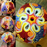 "This child's helmet is called "" Color Spin "" it took me 2 weeks to hand paint this, it was done in acrylics and clear-coat  - Hand painted cycling helmets"