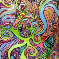 A mix of cosmic colors entangled in a psychedelic maze, done in pen and ink, and colored pens   - My Zenart Designs