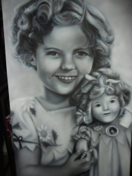 figurative - Shirley Temple closeup by Julia Tapp - Airbrush Artwoks