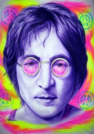 John Lennon airbrushed on a T-Shirt - My Paintings