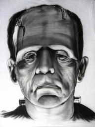 Frankenstein B&W Airbrushed on a T-Shi - My Paintings