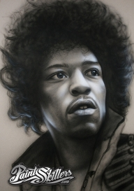 Jimi Hendrix - Airbrush Painting by ~Konf - Airbrush Artwoks