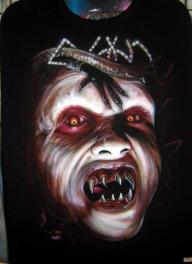 demon on black tee - My Paintings
