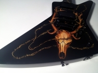 Elk Skull Guitar | Airbrush Art | Professional Air Brush Artist in Perth, WA - Airbrush Artwoks