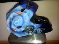 Custom airbrushed space theme on hockey mask by Fester Custom Airbrushing - Helmets