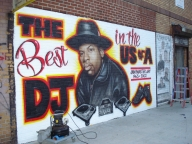 Airbrush Mural by Art-1 (Jam Master Jay) @ Run DMC and JMJ Way, Hollis NY - Airbrush Murales