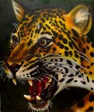 Jaguar auf Leinwand - Portrait
