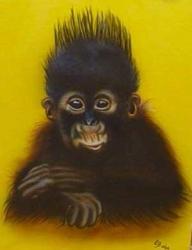 Affenbaby auf Leinwand - Portrait