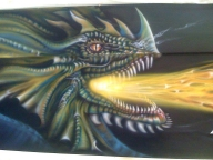 lancha aerografiada con dragones con nixa arte y aerografia, www.facebook.com/pages/nixa-arte-y-aerografia/222640651124798?ref=hl - Kustom Airbrush