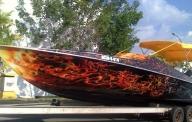 lancha aerografiada efecto fuego, por nixa arte y aerografia,www.facebook.com/pages/nixa-arte-y-aerografia/222640651124798?ref=hl - Kustom Airbrush
