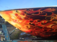 detalle lancha efecto fuego en la proa, aerografiada por nixa arte y aerografia   lwww.facebook.com/pages/nixa-arte-y-aerografia/222640651124798?ref=h - Kustom Airbrush