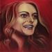 'Heather Graham'  Portrait on red. 2014