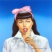 """""""SWEET TREAT!"""" (C) 2015 Jon Hul   Acrylic painting rendered with Liquitex Acrylic paint on illustration board. Model is Bettie Page."""