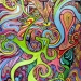 A mix of cosmic colors entangled in a psychedelic maze, done in pen and ink, and colored pens