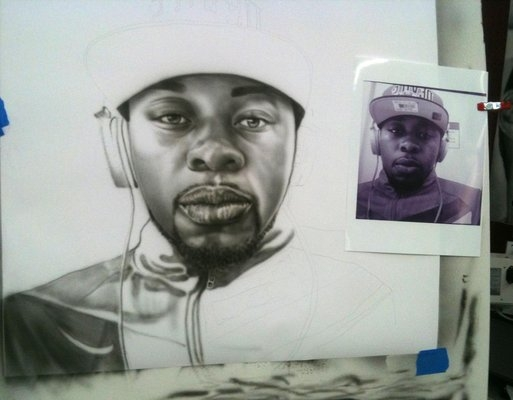 airbrush portrait in progress