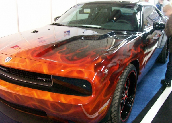 Flames on 2009 Dodge Challenger SRT