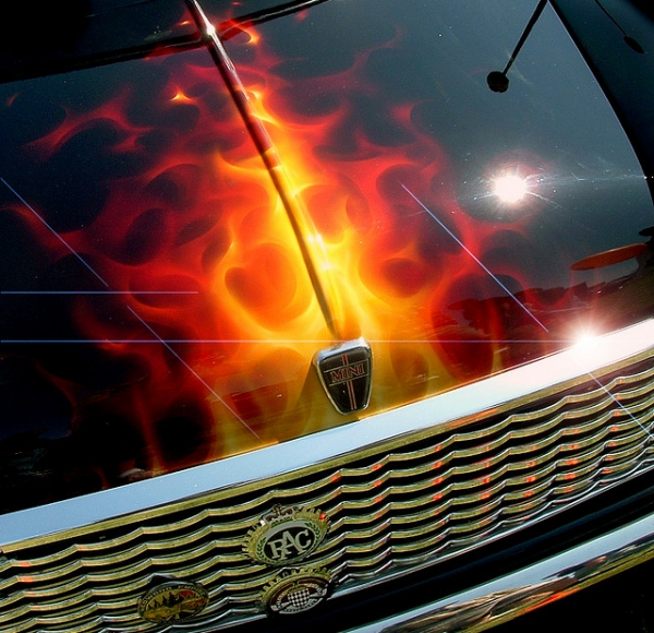 Mini cooper bonnet airbrush flames