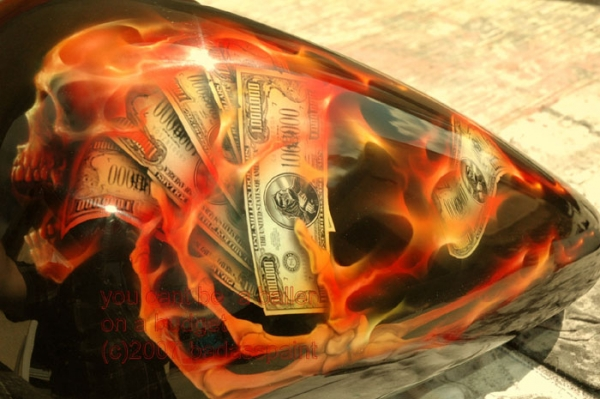 Money,Skull and flames