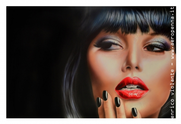 airbrush portrait on schoeller, cm.40x60
