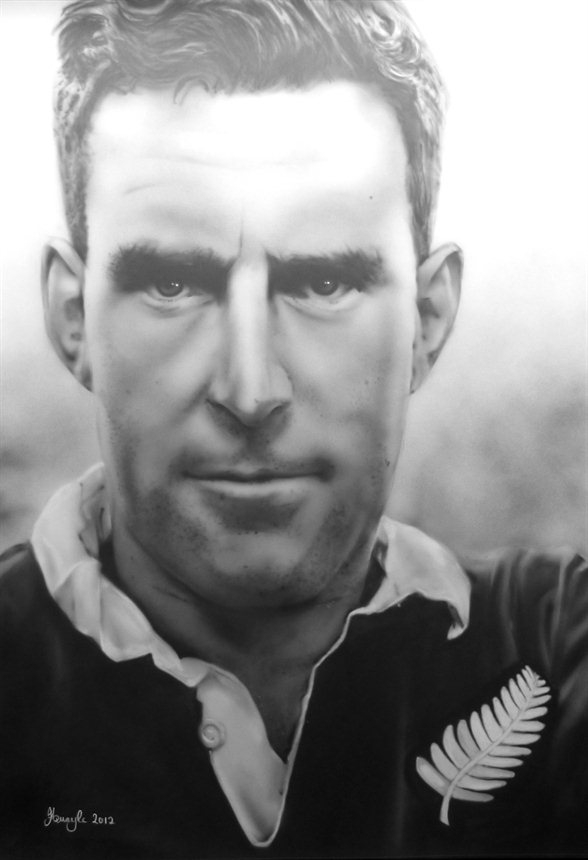 airbrush - Sir Colin Meads by Julia Tapp