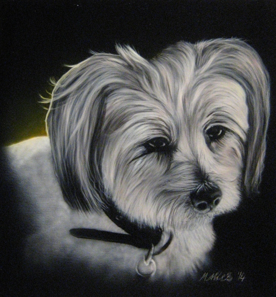 """""""Dee Jay"""" - Portrait of my brothers little dog. 45x50cm"""