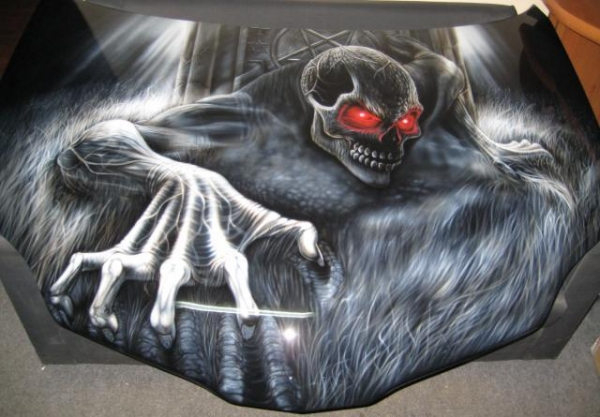 airbrush, car, hood, painting, zombie, monster