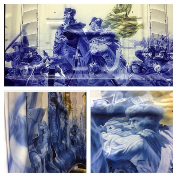 """""""Washington Crossing the Delaware""""  detail of the underbelly of a mural on a 2014 Mustang GT.  House of Kolor."""