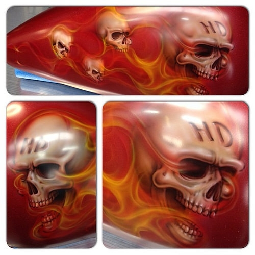 Completed Skulls and Flames Harley Tank, ready for clear.