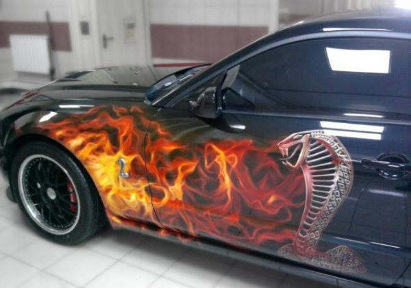car, airbrushing, painting, mustang shelby, cobra, fire
